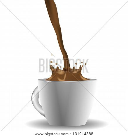 White cup of  coffee with splash on white background illustration