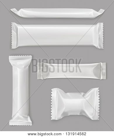 White polyethylene package, chocolate bar, vector mockup set