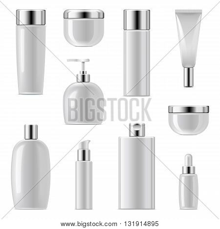 Vector Cosmetic Packaging Icons Set 2 isolated on white background