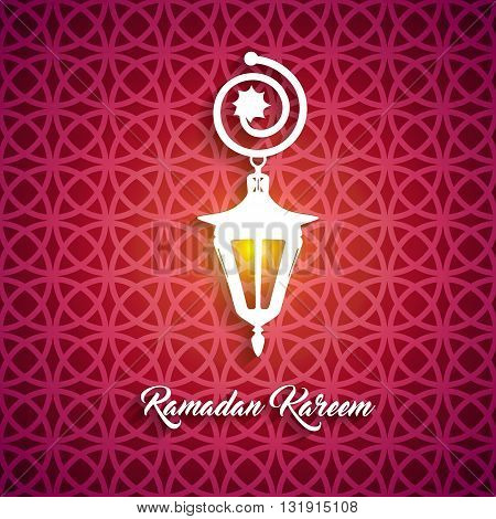 Ramadan Kareem beautiful lettering calligraphy white text with illuminated arabic lamp. Calligraphy inscription holiday card on a red ornament pattern background. Vector illustration EPS 10
