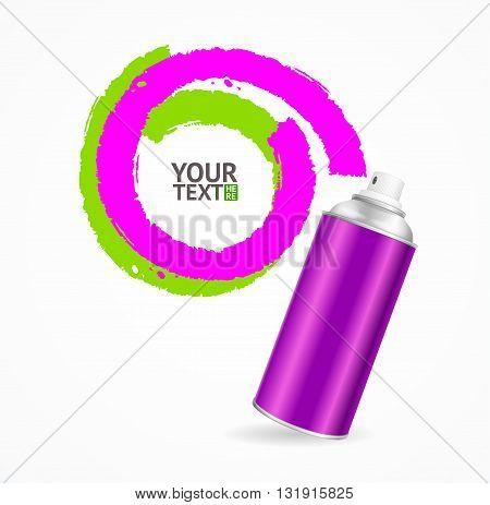 Color Spray Can Write Speech Bubble. Vector illustration
