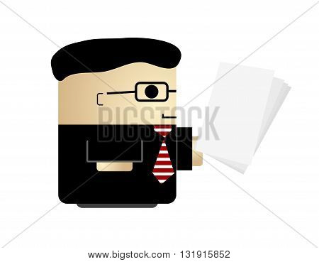 Cute smiling male businessman dressed in a black suit holding business papers. Simple cartoon vector illustration isolated on white