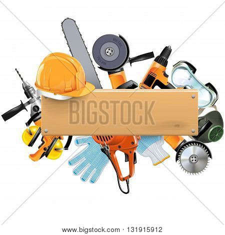 Vector Wooden Board with Tools isolated on white background