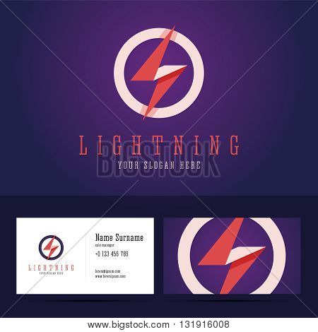 Lightning logo and business card template. Flat style with overlapping effect. Vector illustration for print or web projects.