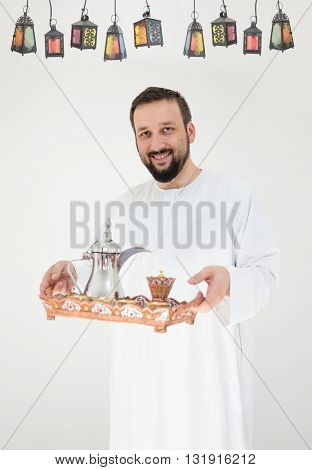 Happy man ready for Ramadan