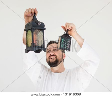 Happy man ready for Ramadan