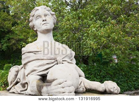 Ancient sculpture of a woman-sphinx in the palace park in Massandra Crimea