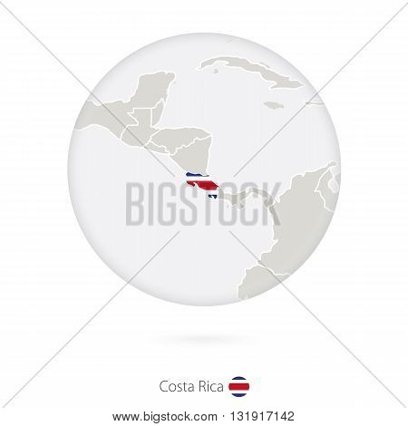 Map Of Costa Rica And National Flag In A Circle.