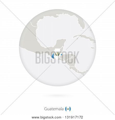 Map Of Guatemala And National Flag In A Circle.