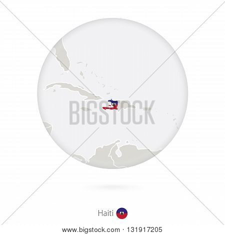 Map Of Haiti And National Flag In A Circle.