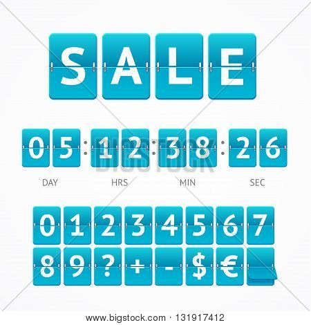 Counter Seasonal Sale Concept.  Lettering on Blue Boards. Vector illustration