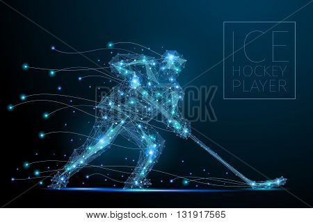 Blue polygonal abstract ice hockey player. Blues players from futuristic shape. Thin line cybernetic style of sportsmens silhouette. Body energy low poly sports man in motion.