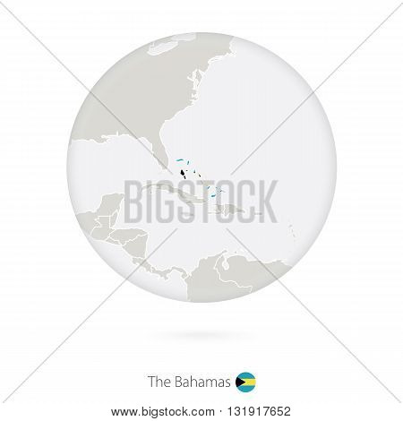 Map Of The Bahamas And National Flag In A Circle.