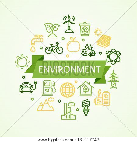 Ecology Environment Concept Card with Icon. Vector illustration