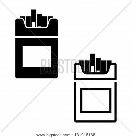 Vector black Cigarettes icon on white background