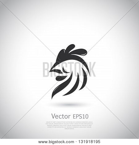 Abstract rooster logo or icon template. Vector illustration.