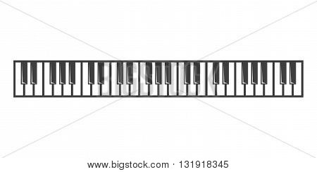Vector black piano key icon on grey background.