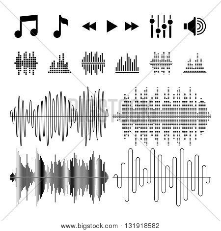 Equalizer, music, sound waves vector icons. Wave and frequency equalizer music. Audio sound equalizer melody illustration