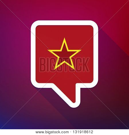 Long Shadow Tooltip Icon On A Gradient Background  With  The Red Star Of Communism Icon