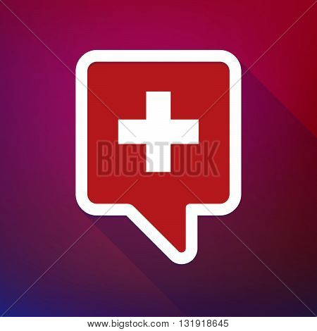 Long Shadow Tooltip Icon On A Gradient Background  With   The Swiss Flag