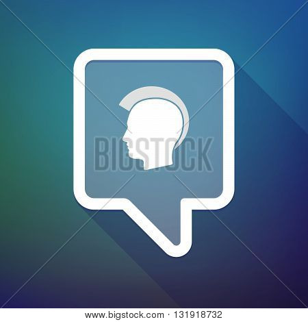 Long Shadow Tooltip Icon On A Gradient Background  With  A Male Punk Head Silhouette
