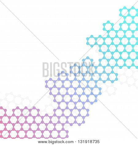 Vector structure molecule of DNA and neurons on white background