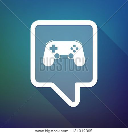 Long Shadow Tooltip Icon On A Gradient Background  With  A Game Pad