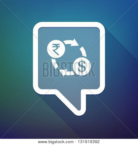 Long Shadow Tooltip Icon On A Gradient Background  With  A Rupee And Dollar Exchange Sign