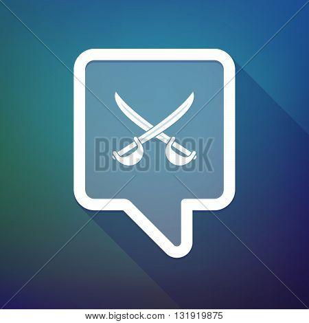 Long Shadow Tooltip Icon On A Gradient Background  With  Two Swords Crossed