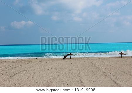 Tranquility with carribean  blue sea and white sand