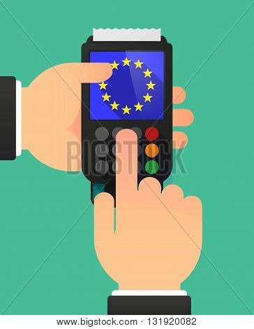 Person Hands Using A Dataphone With  The Eu Flag Stars