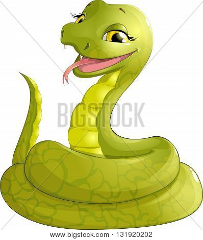 sly serpent smiling sitting on a white background