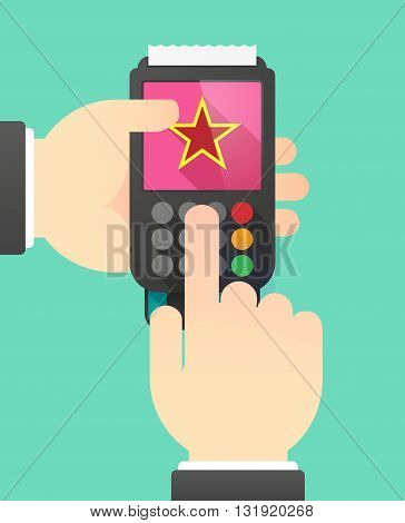 Person Hands Using A Dataphone With  The Red Star Of Communism Icon