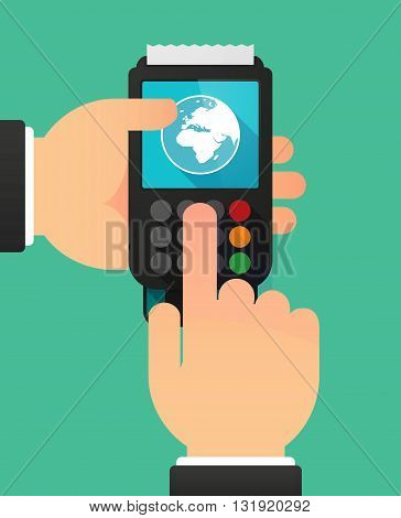 Person Hands Using A Dataphone With   An Asia, Africa And Europe Regions World Globe