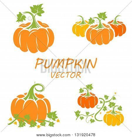Vector flat pumpkin icons set on white backgrounds