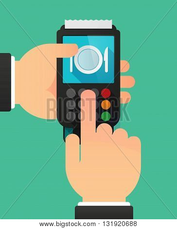 Person Hands Using A Dataphone With  A Dish, Knife And A Fork Icon