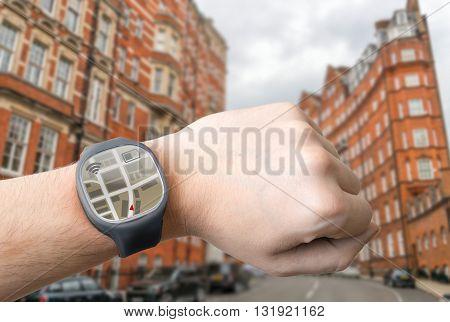 Gps Navigation System On Smart Watch. Modern Technology Concept.