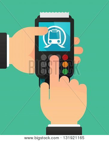 Person Hands Using A Dataphone With  A Subway Train Icon