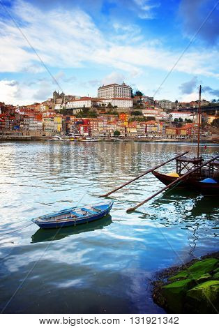 bishops palace and Rabelo boats, Porto, Portugal, retro toned