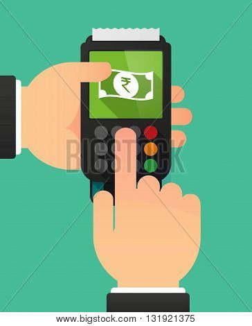 Person Hands Using A Dataphone With  A Rupee Bank Note Icon