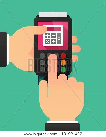Person Hands Using A Dataphone With  A Calculator