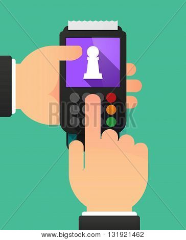 Person Hands Using A Dataphone With A  Pawn Chess Figure