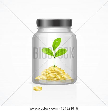 Business Investment Growth Concept with Plant. Vector illustration