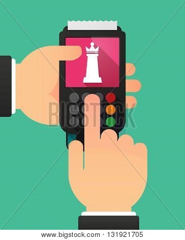 Person Hands Using A Dataphone With A  Queen   Chess Figure