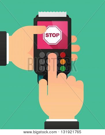Person Hands Using A Dataphone With  A Stop Signal