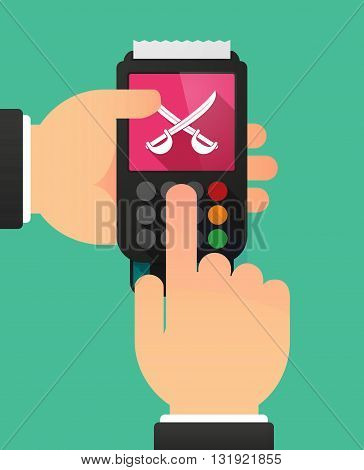 Person Hands Using A Dataphone With  Two Swords Crossed
