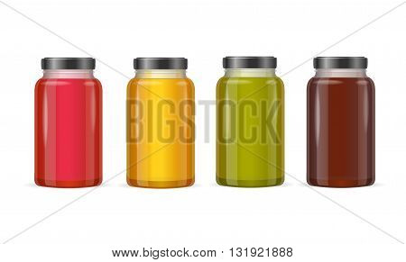Jar Glass with Jam or Juice. Vector illustration