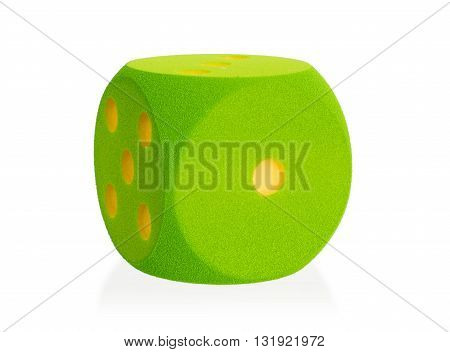 Large Green Foam Die Isolated - 1