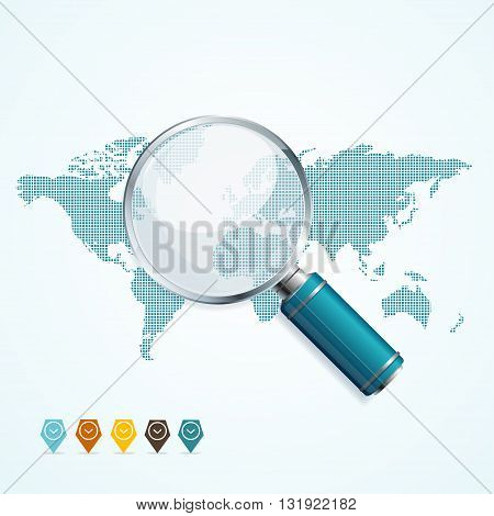 Magnifier and World Map. Global Search Concept. Vector illustration