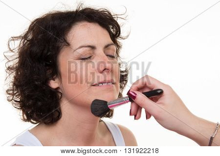 Happy Middle-aged Model, Which Is Applied Makeup. Makeup Artist Isolated